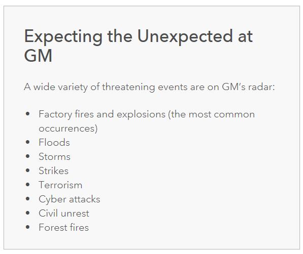 GM が想定する想定外の出来事